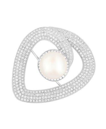 Broszka srebrna z perłą